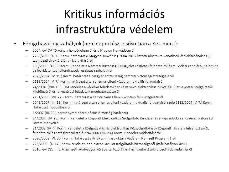 Kritikus információs infrastruktúra védelem Eddigi hazai jogszabályok (nem naprakész, elsősorban a Ket. miatt): – 2004. évi CV. Törvény a honvédelemrő