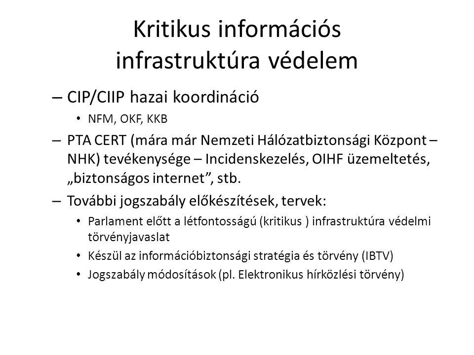 Kritikus információs infrastruktúra védelem – CIP/CIIP hazai koordináció NFM, OKF, KKB – PTA CERT (mára már Nemzeti Hálózatbiztonsági Központ – NHK) t