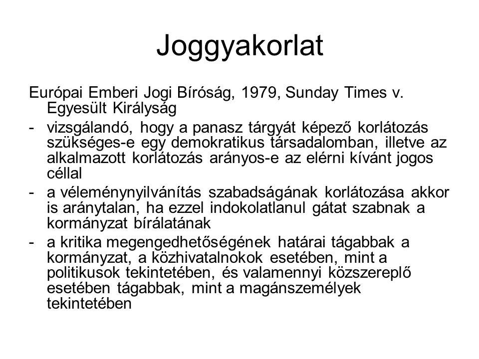 Joggyakorlat Európai Emberi Jogi Bíróság, 1979, Sunday Times v.