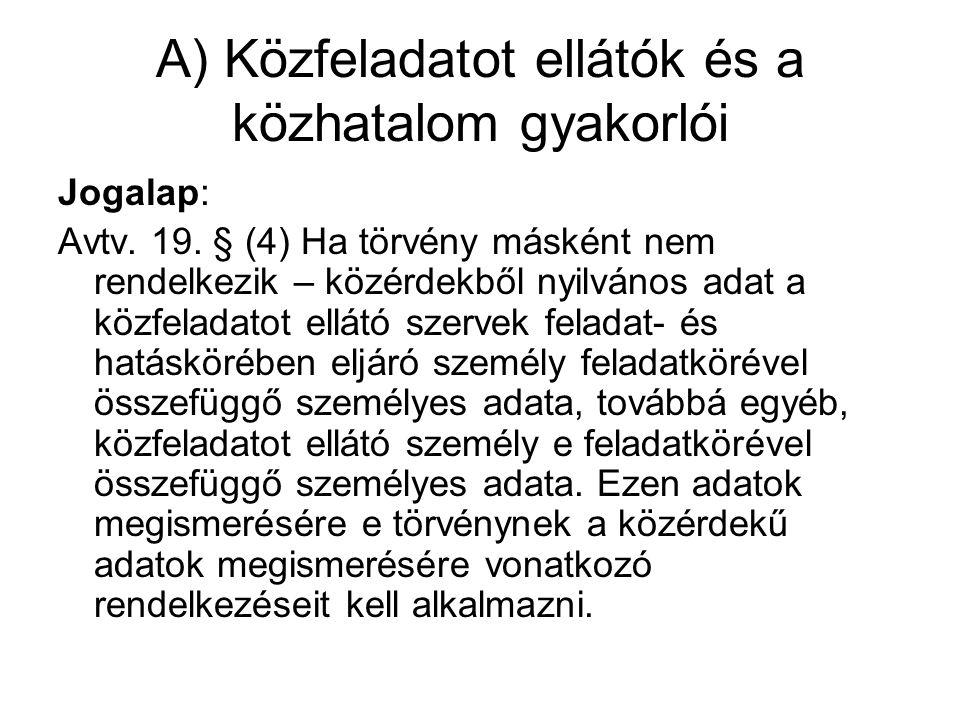 A) Közfeladatot ellátók és a közhatalom gyakorlói Jogalap: Avtv.