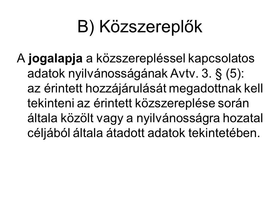 B) Közszereplők A jogalapja a közszerepléssel kapcsolatos adatok nyilvánosságának Avtv.