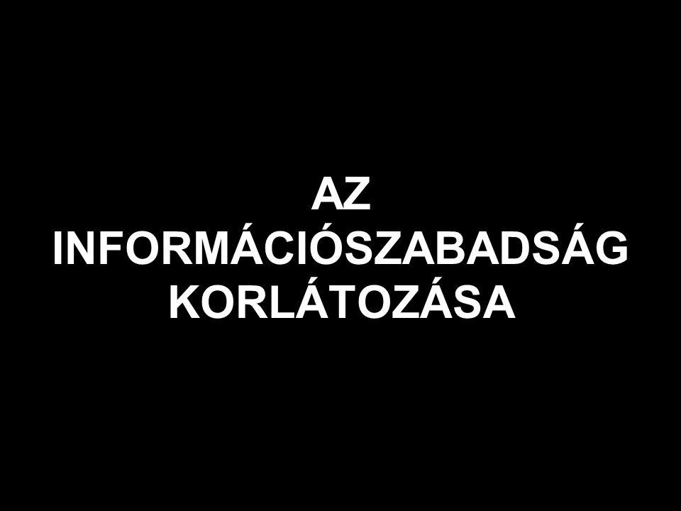 AZ INFORMÁCIÓSZABADSÁG KORLÁTOZÁSA