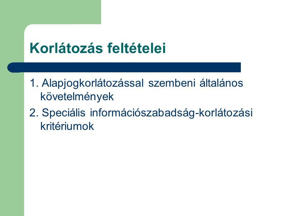 Korlátozás feltételei 1. Alapjogkorlátozással szembeni általános követelmények 2. Speciális információszabadság-korlátozási kritériumok