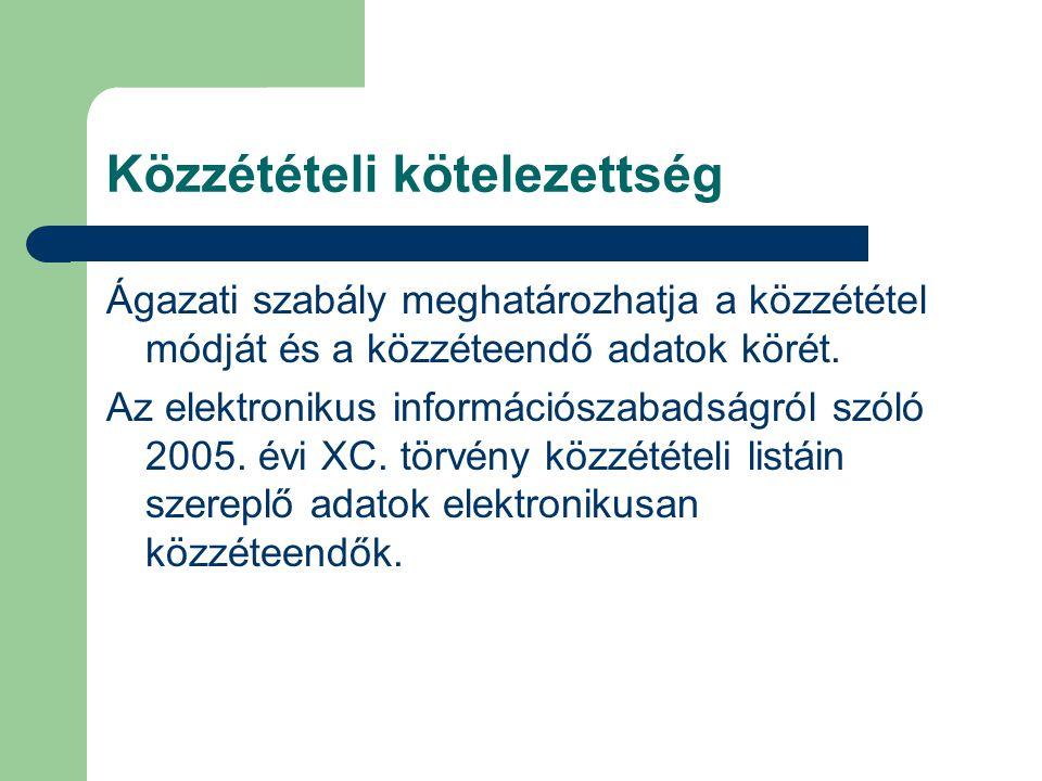 Közzétételi kötelezettség Ágazati szabály meghatározhatja a közzététel módját és a közzéteendő adatok körét. Az elektronikus információszabadságról sz