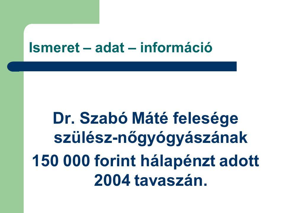 Ismeret – adat – információ Dr. Szabó Máté felesége szülész-nőgyógyászának 150 000 forint hálapénzt adott 2004 tavaszán.