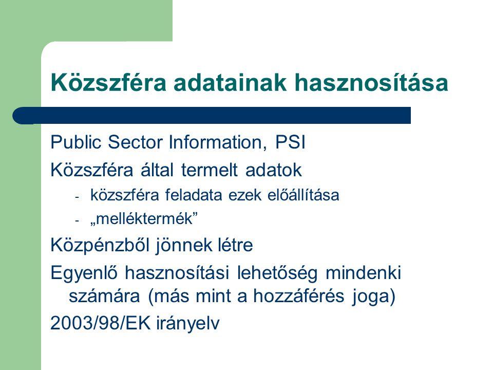 """Közszféra adatainak hasznosítása Public Sector Information, PSI Közszféra által termelt adatok - közszféra feladata ezek előállítása - """"melléktermék Közpénzből jönnek létre Egyenlő hasznosítási lehetőség mindenki számára (más mint a hozzáférés joga) 2003/98/EK irányelv"""