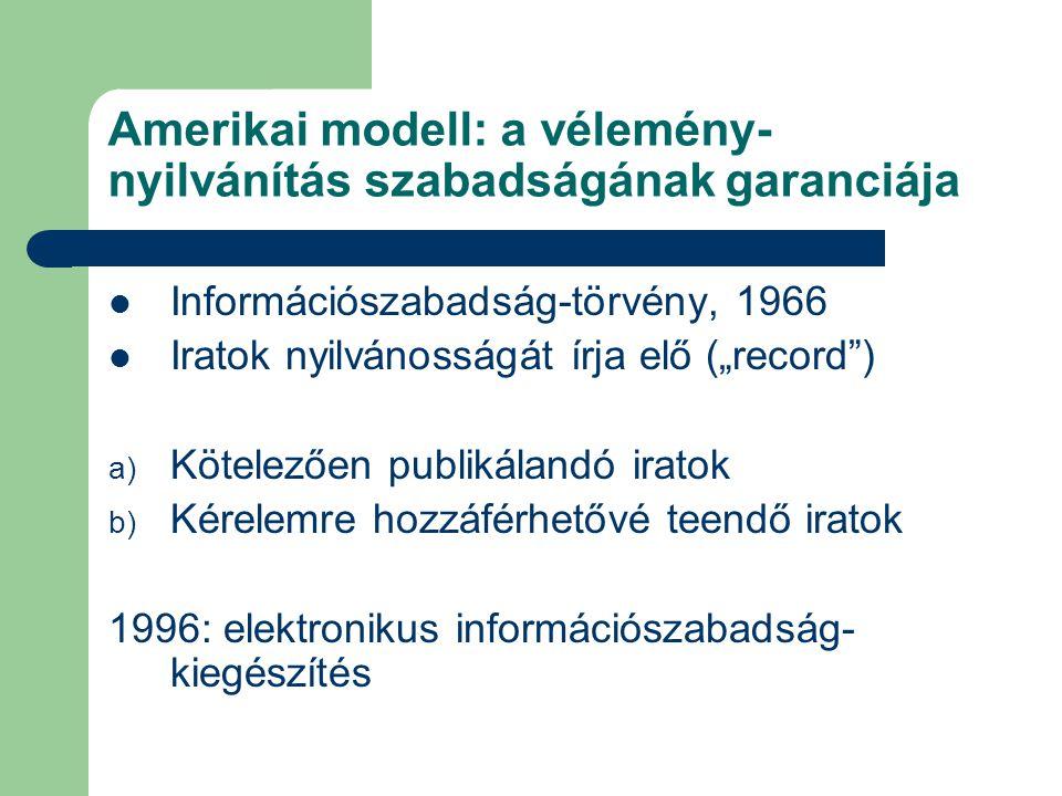 """Amerikai modell: a vélemény- nyilvánítás szabadságának garanciája Információszabadság-törvény, 1966 Iratok nyilvánosságát írja elő (""""record ) a) Kötelezően publikálandó iratok b) Kérelemre hozzáférhetővé teendő iratok 1996: elektronikus információszabadság- kiegészítés"""