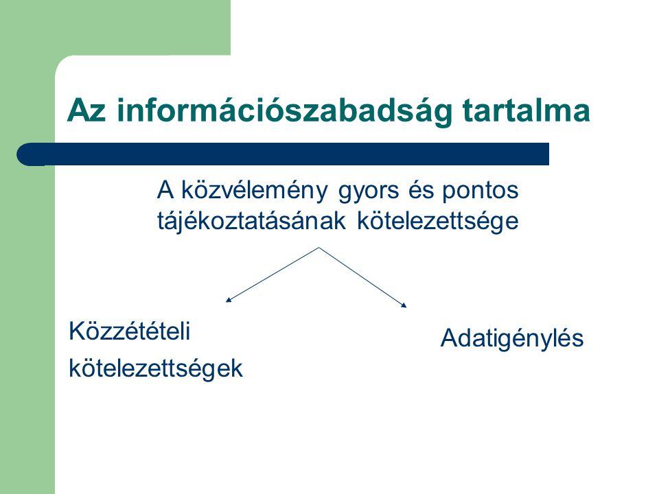 Az információszabadság tartalma A közvélemény gyors és pontos tájékoztatásának kötelezettsége Közzétételi kötelezettségek Adatigénylés