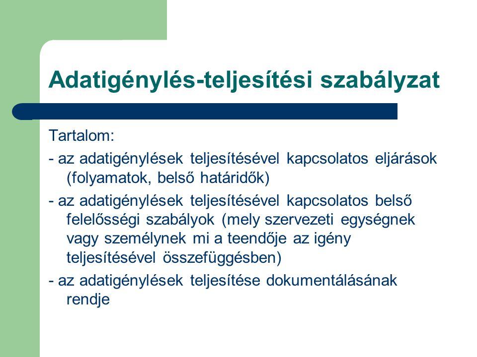 Adatigénylés-teljesítési szabályzat Tartalom: - az adatigénylések teljesítésével kapcsolatos eljárások (folyamatok, belső határidők) - az adatigénylések teljesítésével kapcsolatos belső felelősségi szabályok (mely szervezeti egységnek vagy személynek mi a teendője az igény teljesítésével összefüggésben) - az adatigénylések teljesítése dokumentálásának rendje