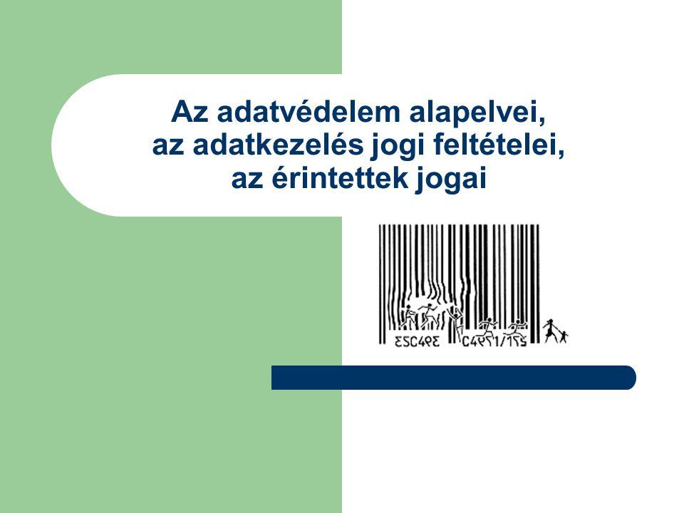 Adatvédelmi alapelvek Az adatgyűjtés korlátozásának elve Az adatminőség elve A célhozkötöttség elve A korlátozott felhasználás elve A biztonság elve A nyíltság elve A személyes részvétel elve A felelősség elve