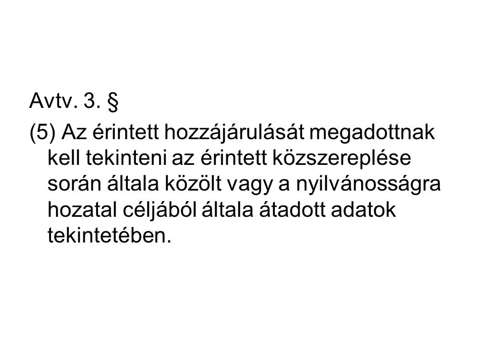 Avtv. 3. § (5) Az érintett hozzájárulását megadottnak kell tekinteni az érintett közszereplése során általa közölt vagy a nyilvánosságra hozatal céljá