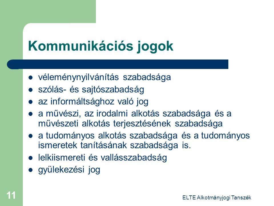 ELTE Alkotmányjogi Tanszék 11 Kommunikációs jogok véleménynyilvánítás szabadsága szólás- és sajtószabadság az informáltsághoz való jog a művészi, az i