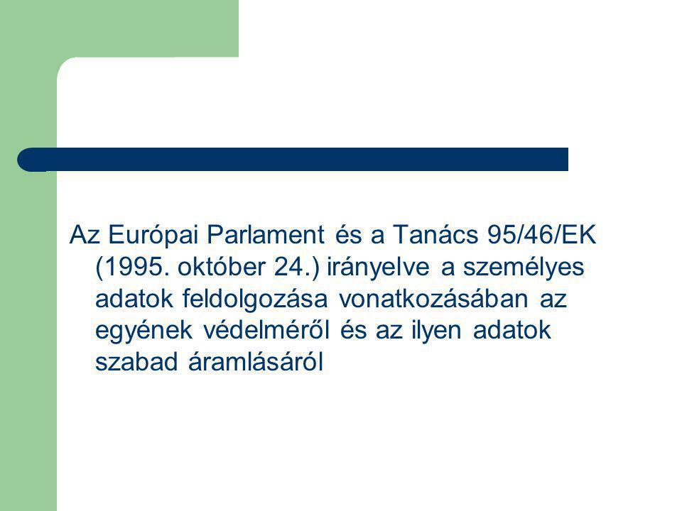 Az Európai Parlament és a Tanács 95/46/EK (1995.