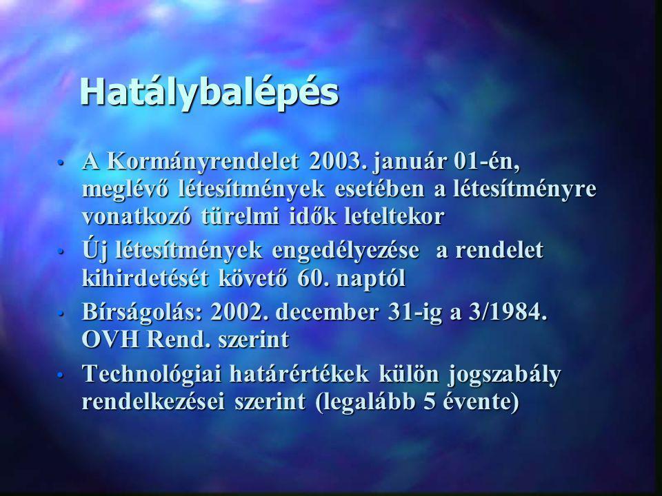 Hatálybalépés Hatálybalépés A Kormányrendelet 2003.
