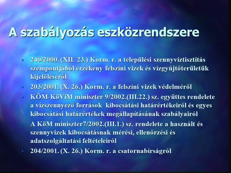 A szabályozás eszközrendszere 240/2000. (XII. 23.) Korm. r. a települési szennyvíztisztítás szempontjából érzékeny felszíni vizek és vízgyűjtőterületü