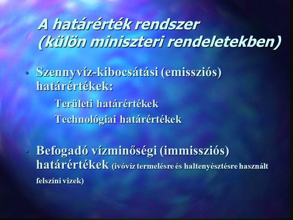 A határérték rendszer (külön miniszteri rendeletekben) Szennyvíz-kibocsátási (emissziós) határértékek: Szennyvíz-kibocsátási (emissziós) határértékek: