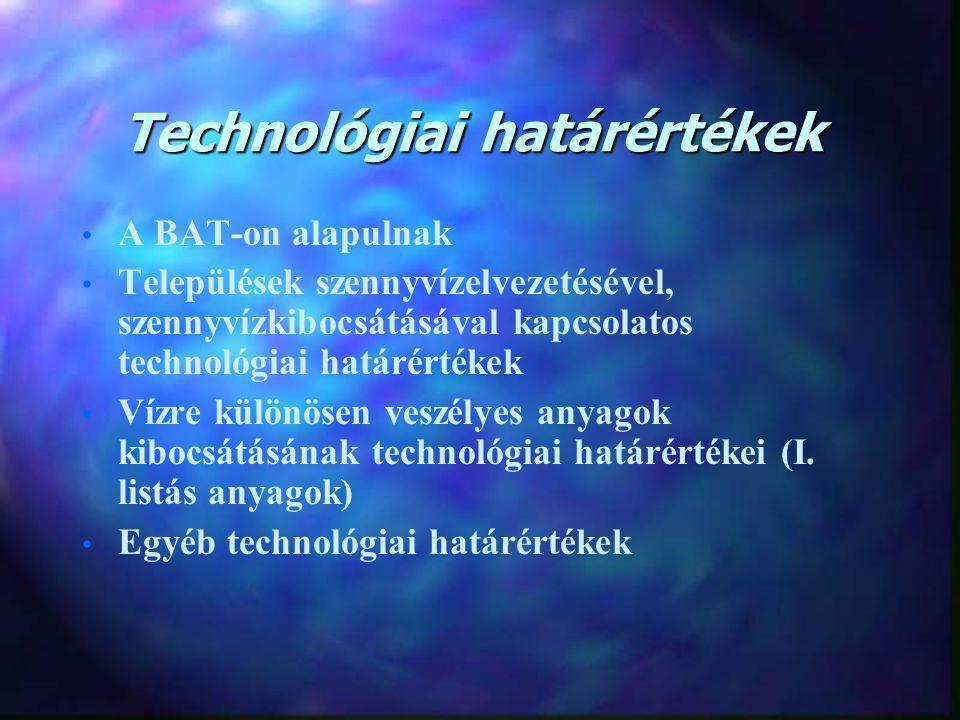 Technológiai határértékek A BAT-on alapulnak Települések szennyvízelvezetésével, szennyvízkibocsátásával kapcsolatos technológiai határértékek Vízre különösen veszélyes anyagok kibocsátásának technológiai határértékei (I.