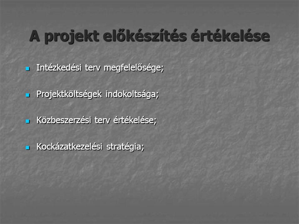A projekt előkészítés értékelése Intézkedési terv megfelelősége; Intézkedési terv megfelelősége; Projektköltségek indokoltsága; Projektköltségek indokoltsága; Közbeszerzési terv értékelése; Közbeszerzési terv értékelése; Kockázatkezelési stratégia; Kockázatkezelési stratégia;