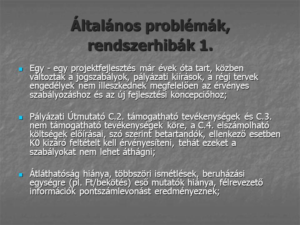 Általános problémák, rendszerhibák 1.