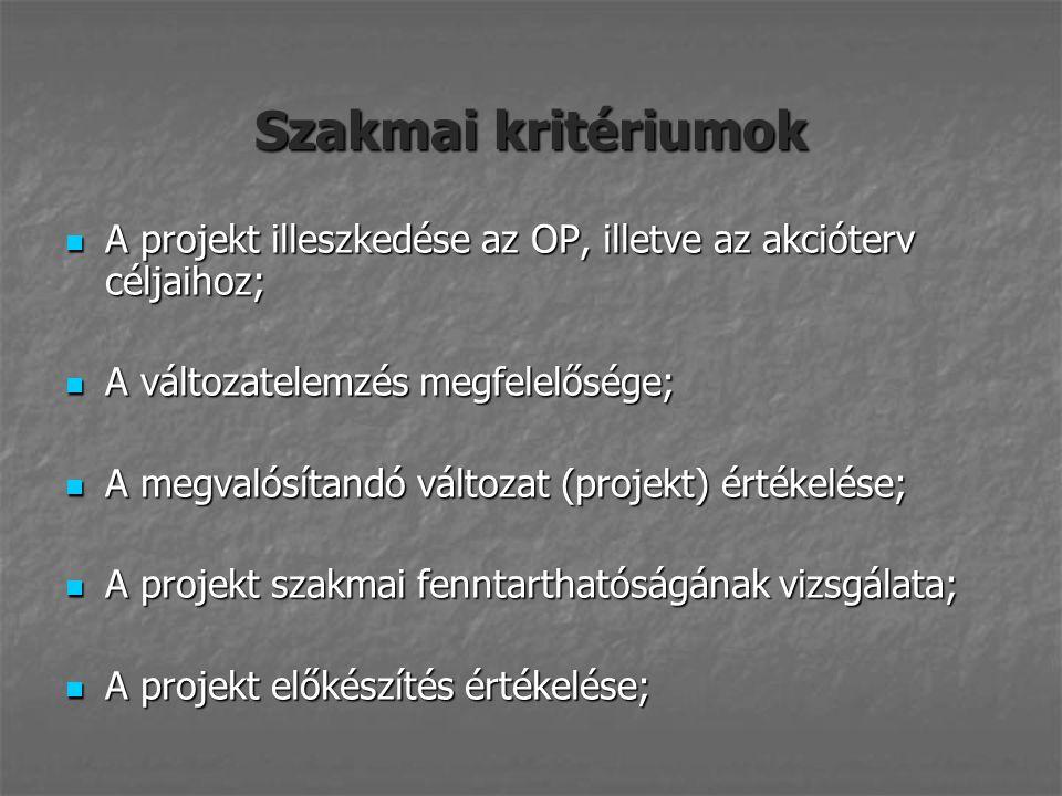 Szakmai kritériumok A projekt illeszkedése az OP, illetve az akcióterv céljaihoz; A projekt illeszkedése az OP, illetve az akcióterv céljaihoz; A változatelemzés megfelelősége; A változatelemzés megfelelősége; A megvalósítandó változat (projekt) értékelése; A megvalósítandó változat (projekt) értékelése; A projekt szakmai fenntarthatóságának vizsgálata; A projekt szakmai fenntarthatóságának vizsgálata; A projekt előkészítés értékelése; A projekt előkészítés értékelése;