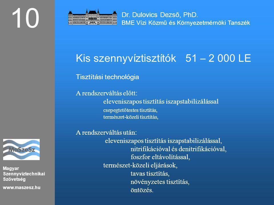 Magyar Szennyvíztechnikai Szövetség www.maszesz.hu 10 Kis szennyvíztisztítók51 – 2 000 LE Tisztítási technológia A rendszerváltás előtt : eleveniszapo