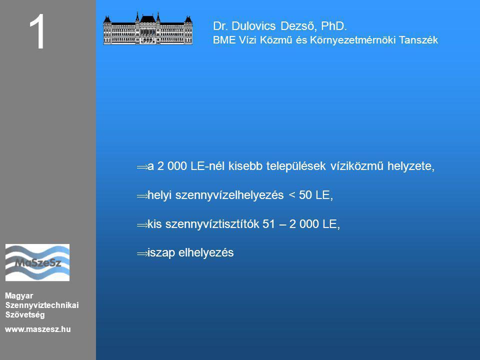Magyar Szennyvíztechnikai Szövetség www.maszesz.hu Dr. Dulovics Dezső, PhD. BME Vízi Közmű és Környezetmérnöki Tanszék 1  a 2 000 LE-nél kisebb telep