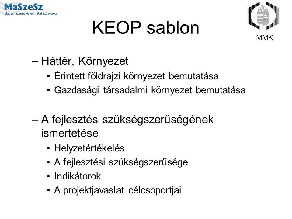 KEOP sablon –Háttér, Környezet Érintett földrajzi környezet bemutatása Gazdasági társadalmi környezet bemutatása –A fejlesztés szükségszerűségének ism