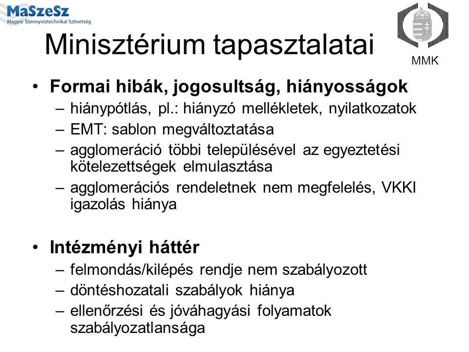 Minisztérium tapasztalatai Formai hibák, jogosultság, hiányosságok –hiánypótlás, pl.: hiányzó mellékletek, nyilatkozatok –EMT: sablon megváltoztatása