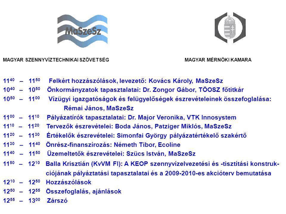 MAGYAR MÉRNÖKI KAMARAMAGYAR SZENNYVÍZTECHNIKAI SZÖVETSÉG 11 40 – 11 50 Felkért hozzászólások, levezető: Kovács Károly, MaSzeSz 10 40 – 10 50 Önkormányzatok tapasztalatai: Dr.