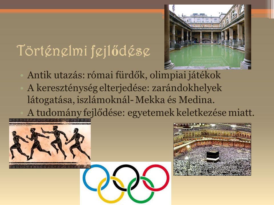 Történelmi fejl ő dése Antik utazás: római fürdők, olimpiai játékok A kereszténység elterjedése: zarándokhelyek látogatása, iszlámoknál- Mekka és Medina.