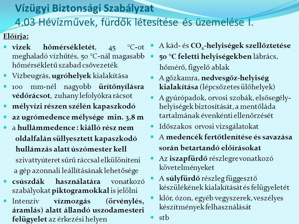Vízügyi Biztonsági Szabályzat 4.03 Hévízművek, fürdők létesítése és üzemelése I. Előírja: vizek hőmérsékletét, 45 °C-ot meghaladó vízhűtés, 50 °C-nál