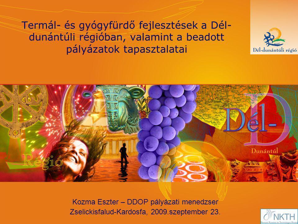 Termál- és gyógyfürdő fejlesztések a Dél- dunántúli régióban, valamint a beadott pályázatok tapasztalatai Kozma Eszter – DDOP pályázati menedzser Zselickisfalud-Kardosfa, 2009.szeptember 23.