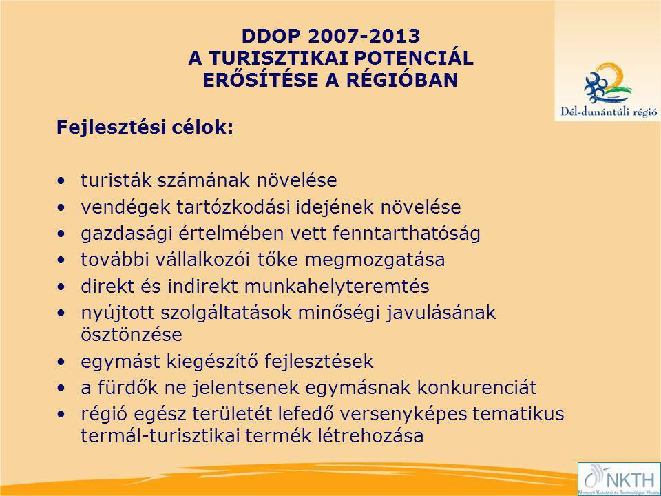 DDOP 2007-2013 A TURISZTIKAI POTENCIÁL ERŐSÍTÉSE A RÉGIÓBAN Fejlesztési célok: turisták számának növelése vendégek tartózkodási idejének növelése gazdasági értelmében vett fenntarthatóság további vállalkozói tőke megmozgatása direkt és indirekt munkahelyteremtés nyújtott szolgáltatások minőségi javulásának ösztönzése egymást kiegészítő fejlesztések a fürdők ne jelentsenek egymásnak konkurenciát régió egész területét lefedő versenyképes tematikus termál-turisztikai termék létrehozása