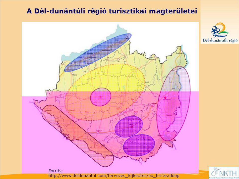 A Dél-dunántúli régió turisztikai magterületei Forrás: http://www.deldunantul.com/tervezes_fejlesztes/eu_forras/ddop
