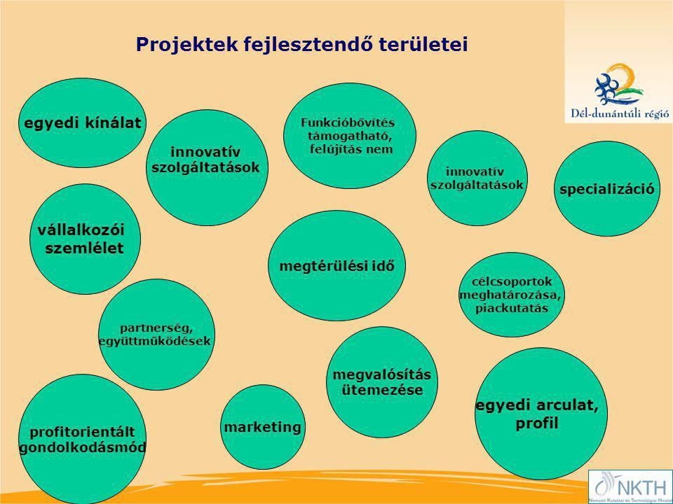 partnerség, együttműködések célcsoportok meghatározása, piackutatás egyedi kínálat marketing egyedi arculat, profil specializáció megtérülési idő profitorientált gondolkodásmód vállalkozói szemlélet innovatív szolgáltatások innovatív szolgáltatások Projektek fejlesztendő területei megvalósítás ütemezése Funkcióbővítés támogatható, felújítás nem
