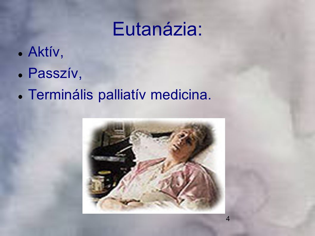 15 Az Alkotmánybírósághoz beérkezett indítványok a gyógyíthatatlan betegségben szenvedők életük méltó befejezéséhez való jogával kapcsolatosak, gyakorlatilag az eutanázia aktív, illetve passzív formájának problematikáját tárják fel.