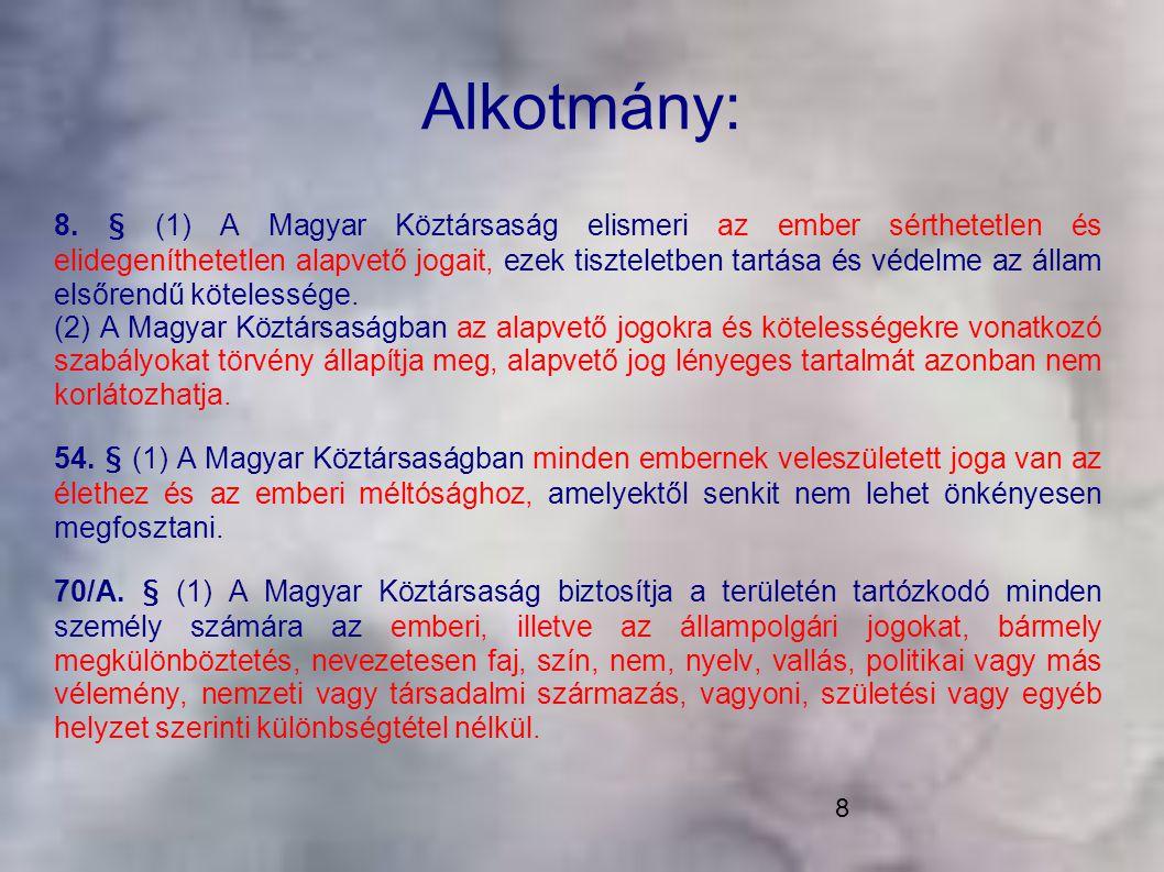8 Alkotmány: 8. § (1) A Magyar Köztársaság elismeri az ember sérthetetlen és elidegeníthetetlen alapvető jogait, ezek tiszteletben tartása és védelme