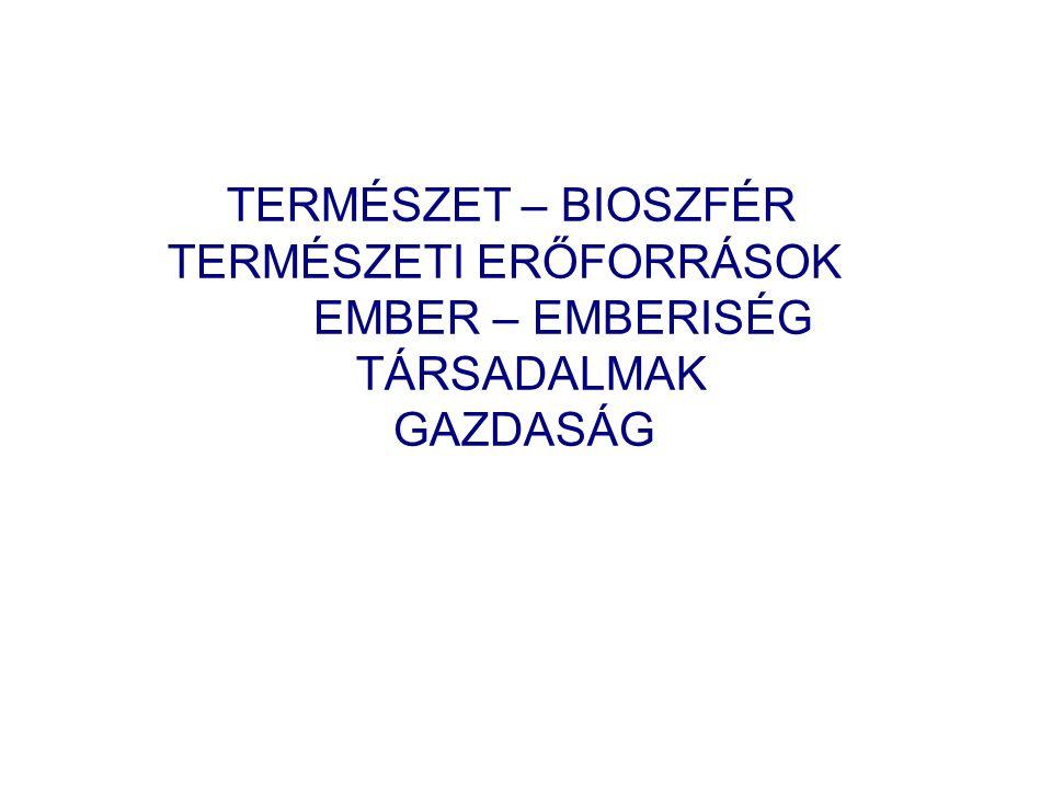 TERMÉSZET – BIOSZFÉR TERMÉSZETI ERŐFORRÁSOK EMBER – EMBERISÉG TÁRSADALMAK GAZDASÁG