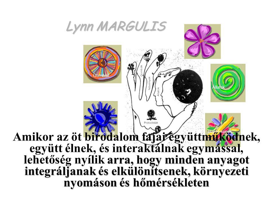 Lynn MARGULIS Protoctisták Baktériumok Állatok Gombák Növények arra, hogy minden anyagot integráljanak és elkülönítsenek, környezeti nyomáson és hőmérsékleten Amikor az öt birodalom fajai együttműködnek, együtt élnek, és interaktálnak egymással, lehetőség nyílik arra, hogy minden anyagot integráljanak és elkülönítsenek, környezeti nyomáson és hőmérsékleten