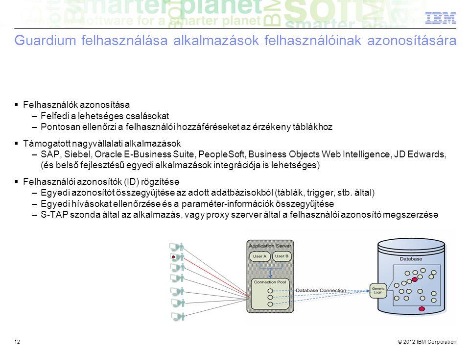© 2012 IBM Corporation12 Guardium felhasználása alkalmazások felhasználóinak azonosítására  Felhasználók azonosítása –Felfedi a lehetséges csalásokat –Pontosan ellenőrzi a felhasználói hozzáféréseket az érzékeny táblákhoz  Támogatott nagyvállalati alkalmazások –SAP, Siebel, Oracle E-Business Suite, PeopleSoft, Business Objects Web Intelligence, JD Edwards, (és belső fejlesztésű egyedi alkalmazások integrációja is lehetséges)  Felhasználói azonosítók (ID) rögzítése –Egyedi azonosítót összegyűjtése az adott adatbázisokból (táblák, trigger, stb.