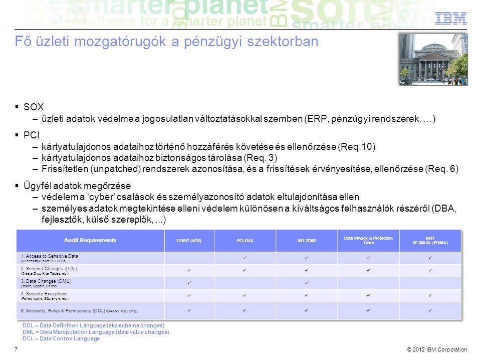 © 2012 IBM Corporation7 Fő üzleti mozgatórugók a pénzügyi szektorban  SOX –üzleti adatok védelme a jogosulatlan változtatásokkal szemben (ERP, pénzügyi rendszerek, …)  PCI –kártyatulajdonos adataihoz történő hozzáférés követése és ellenőrzése (Req.10) –kártyatulajdonos adataihoz biztonságos tárolása (Req.