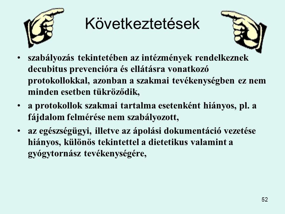 52 Következtetések szabályozás tekintetében az intézmények rendelkeznek decubitus prevencióra és ellátásra vonatkozó protokollokkal, azonban a szakmai