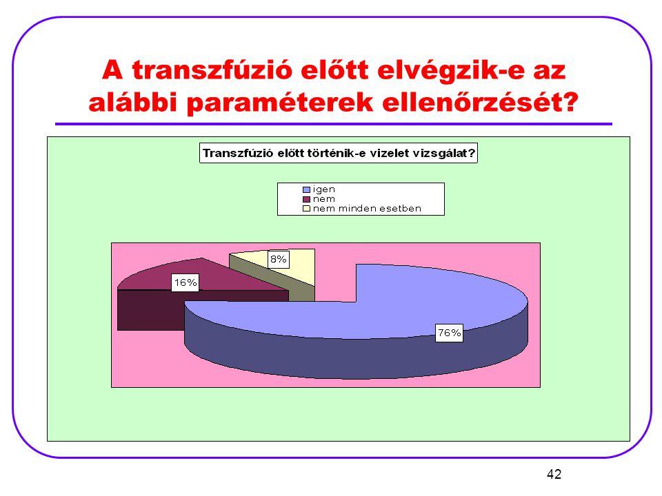 42 A transzfúzió előtt elvégzik-e az alábbi paraméterek ellenőrzését?
