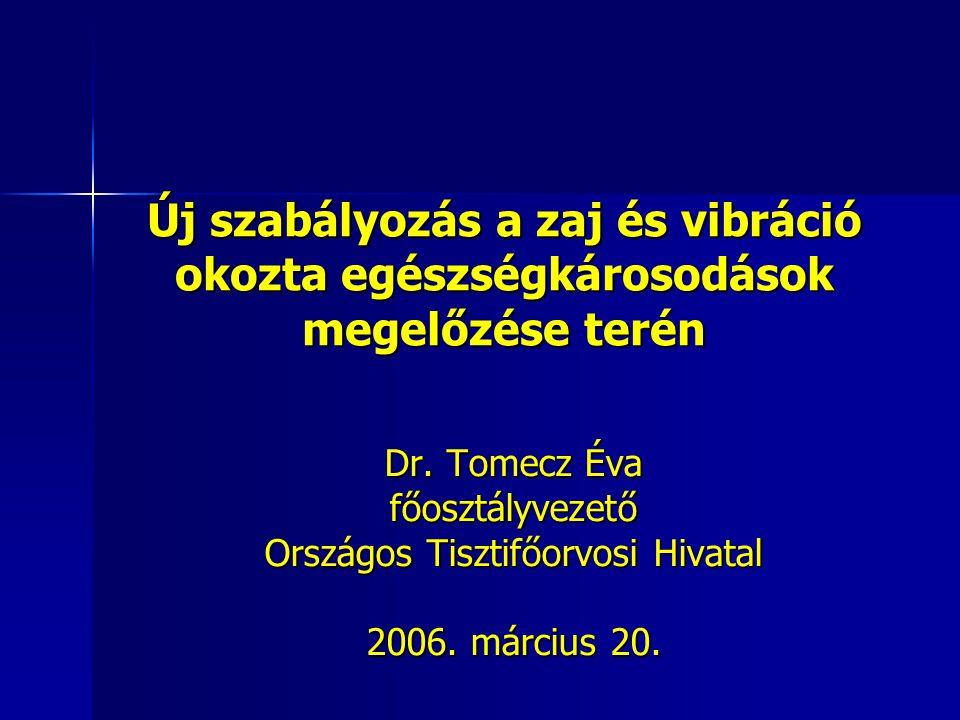 Új szabályozás a zaj és vibráció okozta egészségkárosodások megelőzése terén Dr. Tomecz Éva főosztályvezető Országos Tisztifőorvosi Hivatal 2006. márc