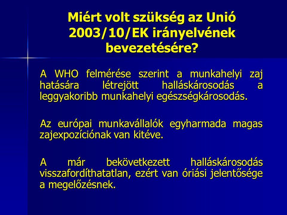 Miért volt szükség az Unió 2003/10/EK irányelvének bevezetésére? A WHO felmérése szerint a munkahelyi zaj hatására létrejött halláskárosodás a leggyak