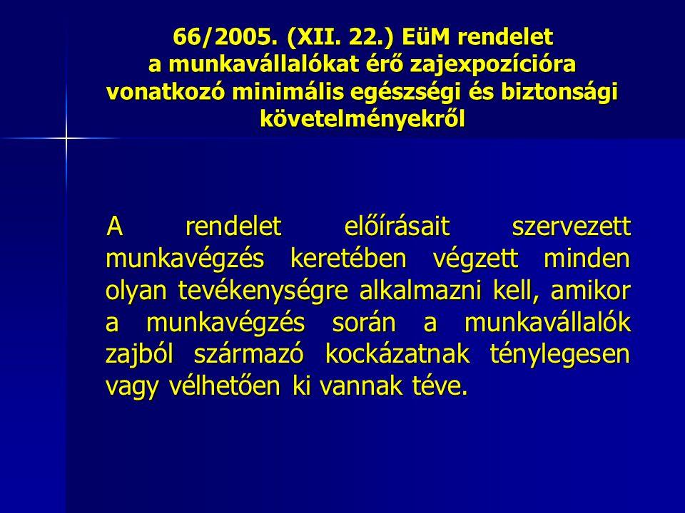 66/2005. (XII. 22.) EüM rendelet a munkavállalókat érő zajexpozícióra vonatkozó minimális egészségi és biztonsági követelményekről A rendelet előírása
