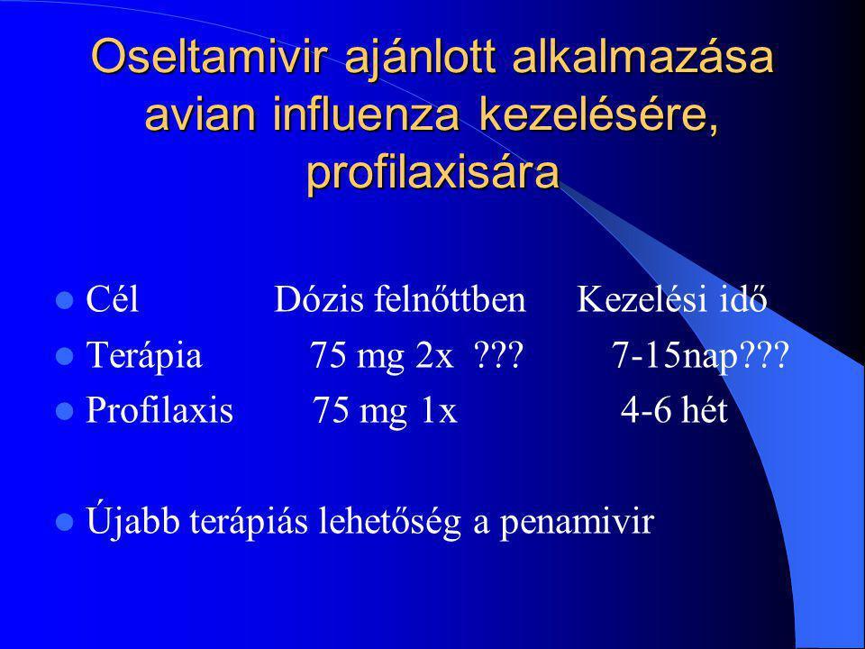 Oseltamivir ajánlott alkalmazása avian influenza kezelésére, profilaxisára Cél Dózis felnőttben Kezelési idő Terápia 75 mg 2x ??? 7-15nap??? Profilaxi