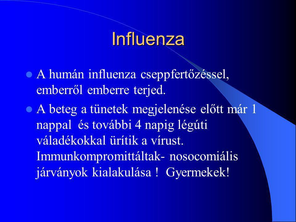 Influenza A humán influenza cseppfertőzéssel, emberről emberre terjed. A beteg a tünetek megjelenése előtt már 1 nappal és további 4 napig légúti vála