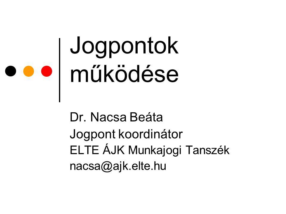 Jogpontok működése Dr. Nacsa Beáta Jogpont koordinátor ELTE ÁJK Munkajogi Tanszék nacsa@ajk.elte.hu