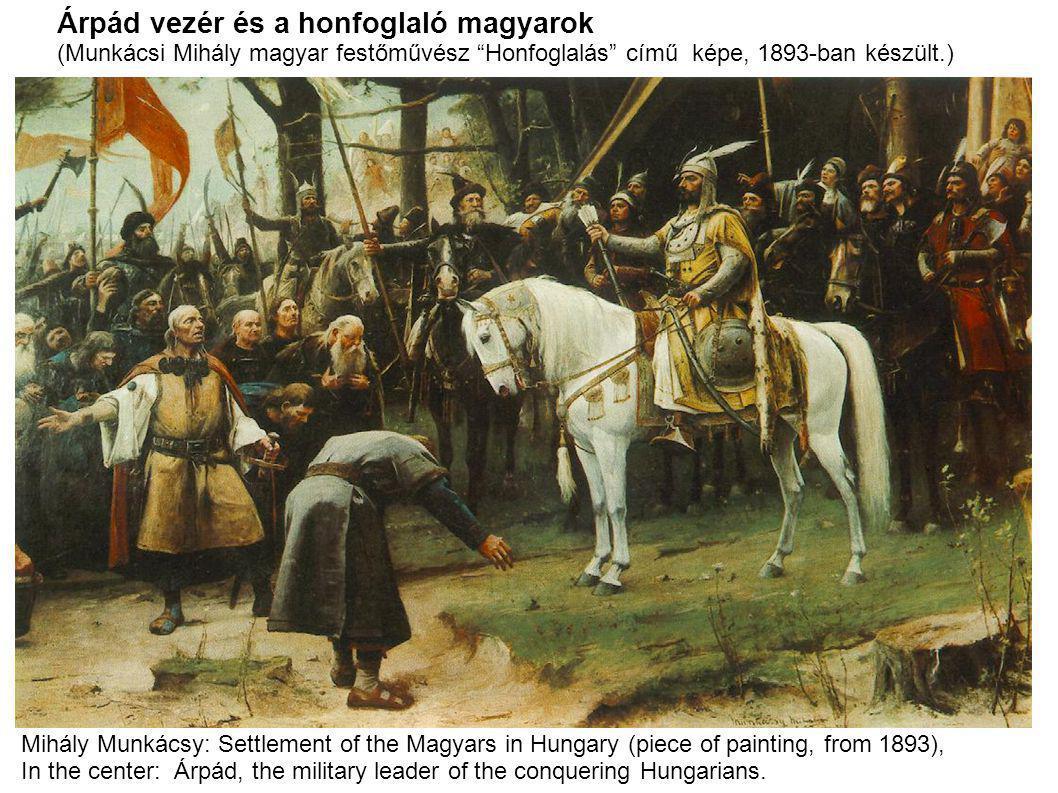 """Árpád vezér és a honfoglaló magyarok (Munkácsi Mihály magyar festőművész """"Honfoglalás"""" című képe, 1893-ban készült.) Mihály Munkácsy: Settlement of th"""